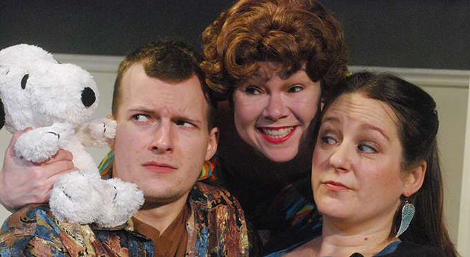 Mike Writtenberry, Britt Kline and Abby Dorn in Christopher Durang's comedy <i>Beyond Therapy</i>.